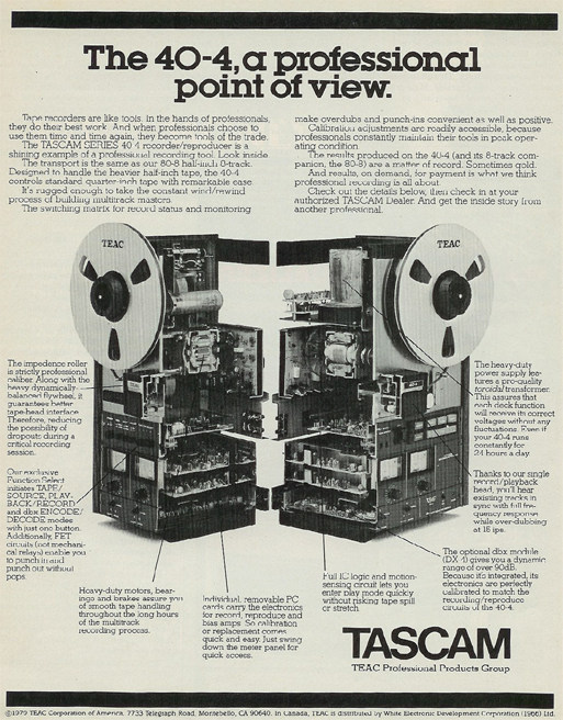 1980 Tascam 40-4 reel tape recorder ad in the Reel2ReelTexas.com vintage recording collection' vintage recording collection
