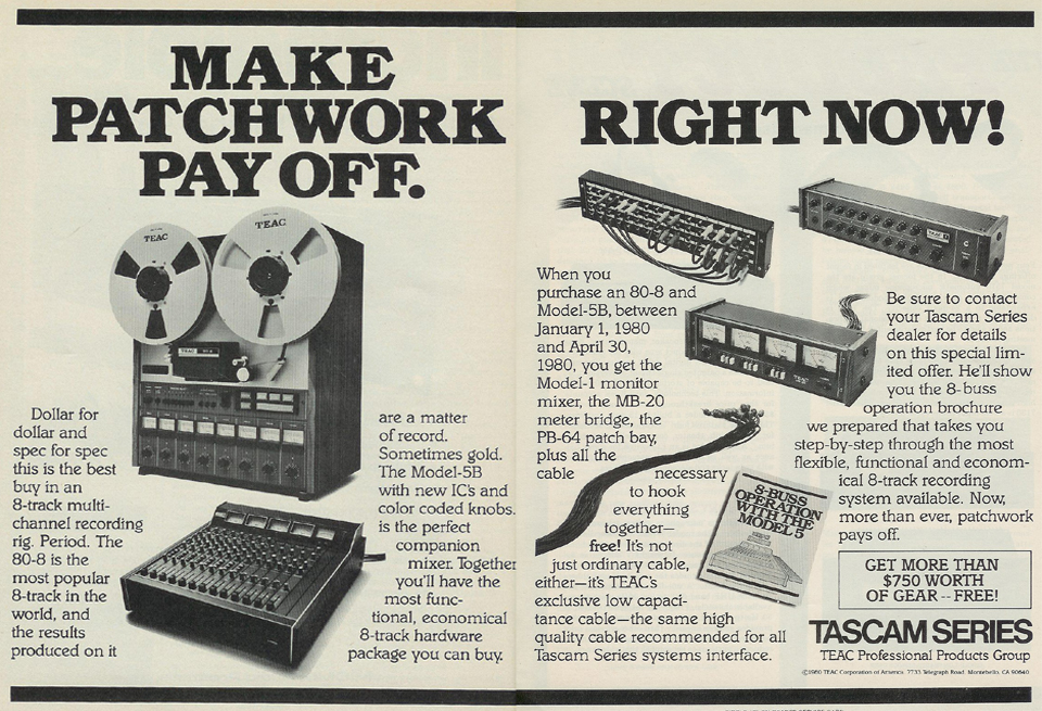 1980 ad for Tascam 80-8 & patch cables