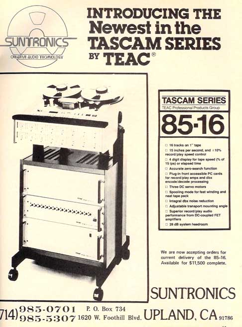 1980 Tascam 85-16 ad in the Reel2ReelTexas.com vintage recording collection' vintage tape recorder collection