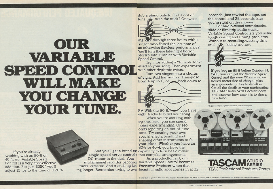 1980 ad for Tascam varispeed control