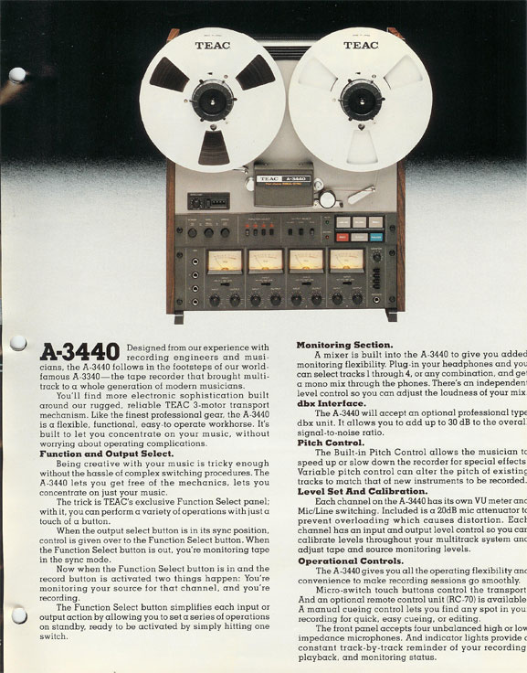 1980 ad for the Teac Tascam A-3440 4 track professional reel to reel tape recorder in the Reel2ReelTexas.com vintage recording collection Museum