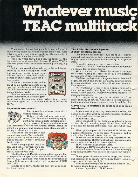 1980 ad for Teac multitrack reel to reel tape recorders and accessories in the Reel2ReelTexas.com vintage recording collection vintage recording collection