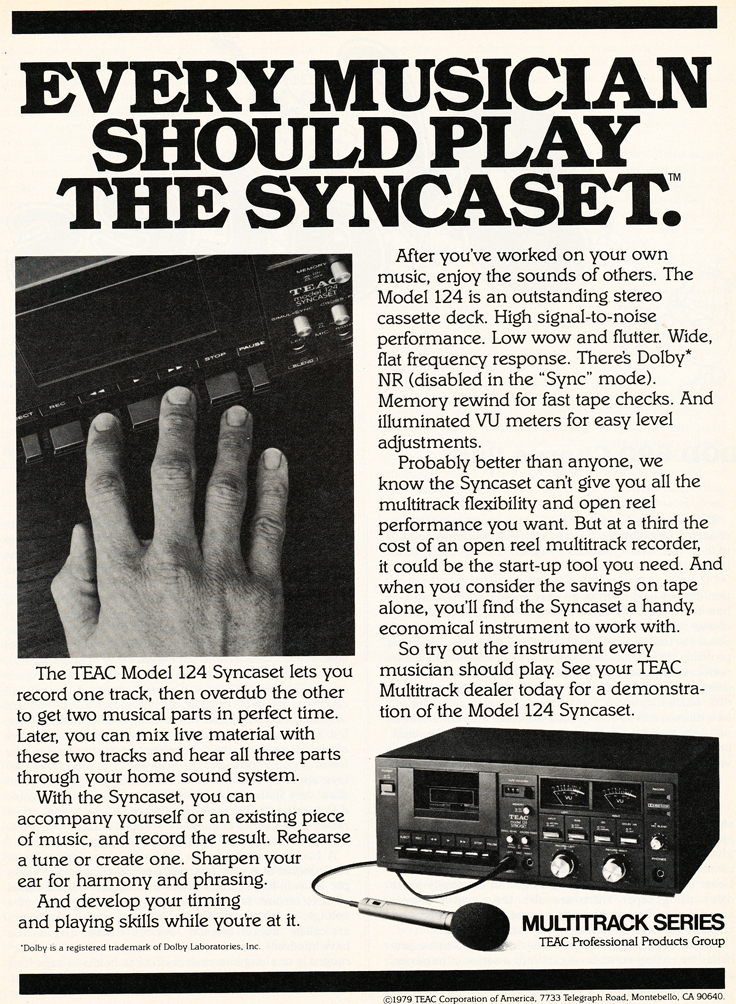 1980 ad for the Teac Model 124 Syncaset multitrack cassette recorder in the Reel2ReelTexas.com vintage recording collection' vintage recording collection