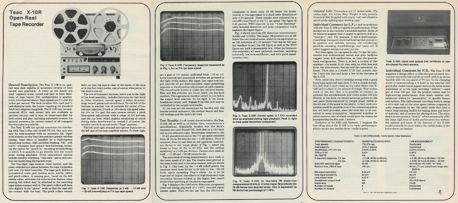 1980 review of the Teac X-10R reel tape recorder