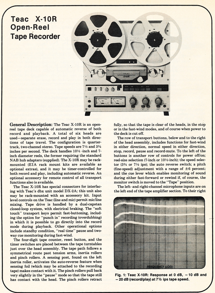 1980 review of the Teac X-10R reel to reel tape recorder in the Reel2ReelTexas.com vintage recording collection' vintage tape recorder collection