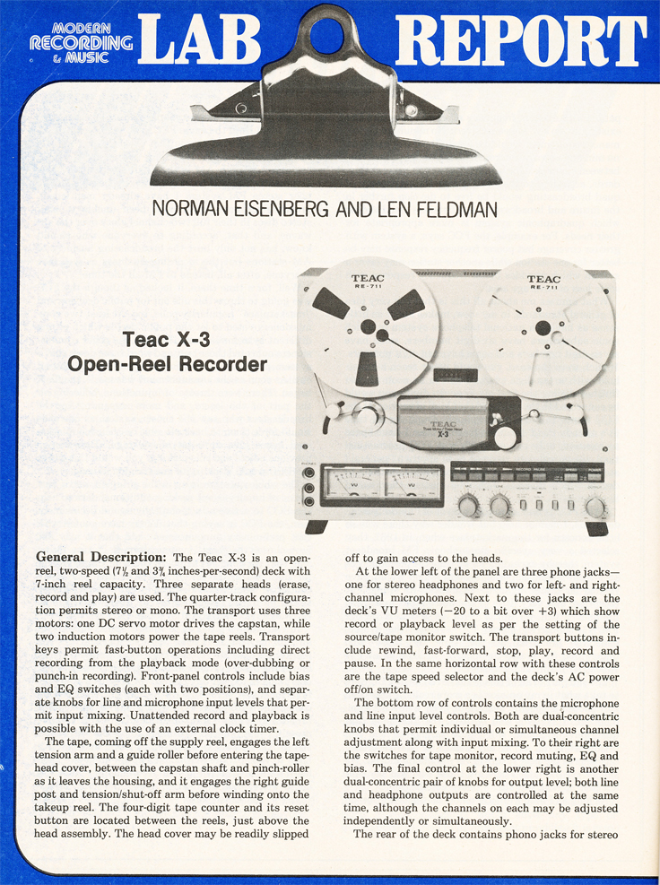 1980 review of the Teac X-3 reel tape recorder in the Reel2ReelTexas.com vintage recording collection' vintage recording collection
