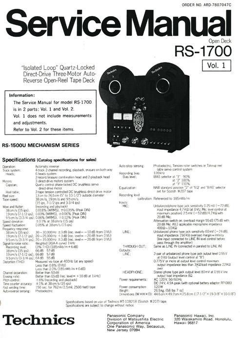Technics RS-1700 auto reversing reel to reel tape recorder