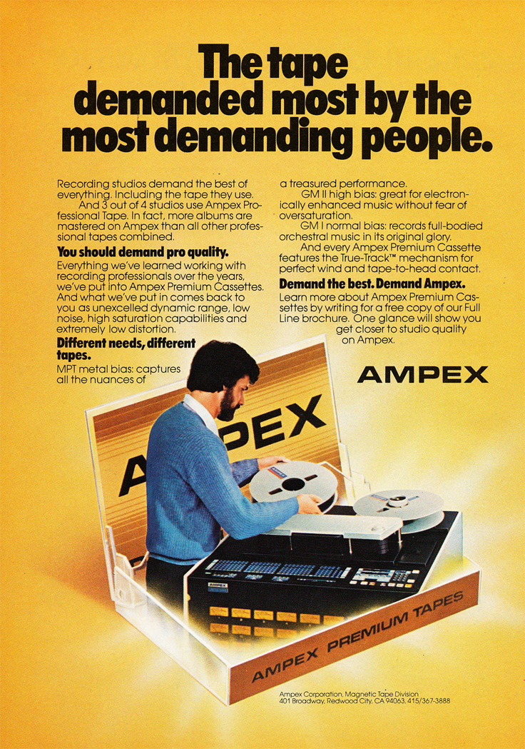 1980 ad for Ampex reel to reel tape recorders in the Reel2ReelTexas.com vintage recording collection