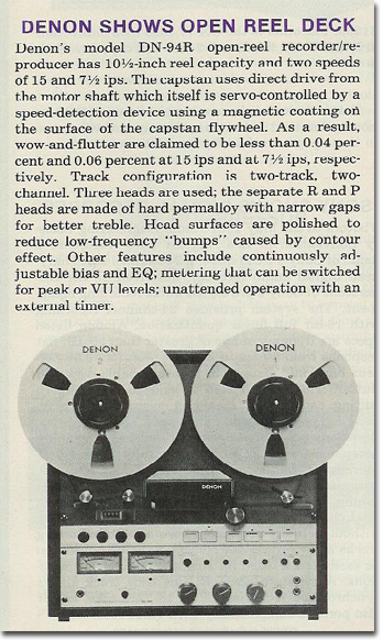 Denon reel to reel tape recorder ad in the Reel2ReelTexas/MOMSR/Theophilus vintage tape recorder collection