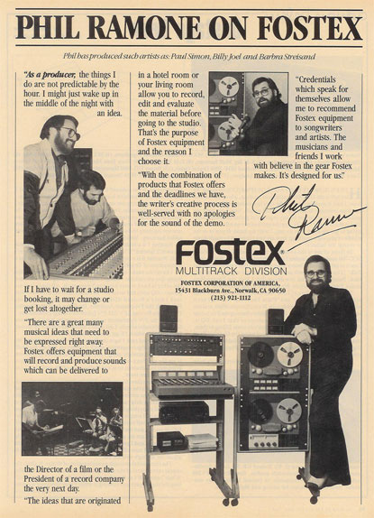 1981 ad for the Fostex A8 8 track reel to reel tape recorder featuring Phil Ramone in the Reel2ReelTexas.com vintage reel tape recorder recording collection