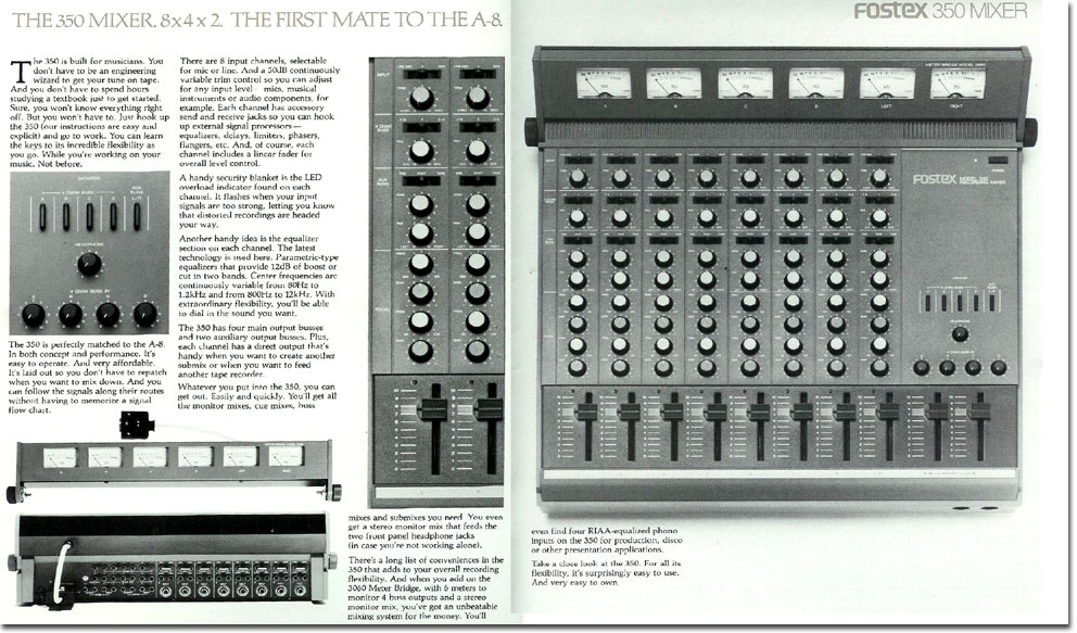 1981 ad for the Fostex 350 mixer in the Reel2ReelTexas.com vintage reel tape recorder recording collection