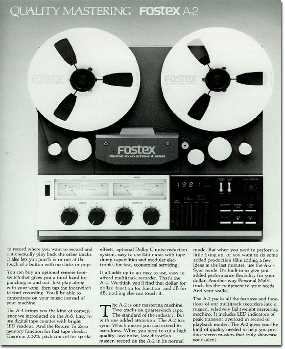 1981 ad for the Fostex A2 2 track reel to reel tape recorder  in the Reel2ReelTexas.com vintage recording collection