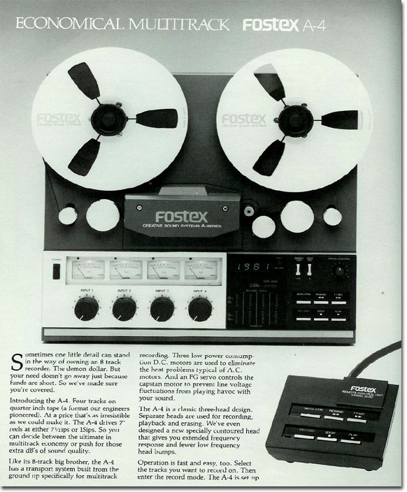 1981 ad for the Fostex A4 4 track reel to reel tape recorder  in the Reel2ReelTexas.com vintage recording collection