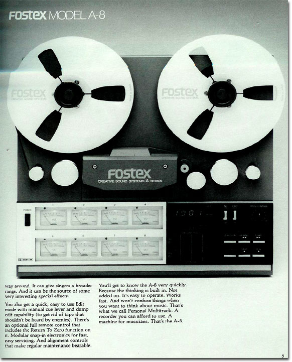 1981 ad for the Fostex A8 8 track reel to reel tape recorder  in the Reel2ReelTexas.com vintage reel tape recorder recording collection