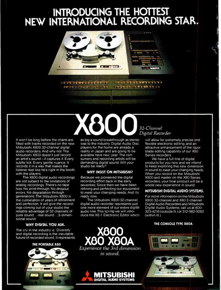 1981 ad for the Mitsubitshi X-80 PCM reel tape recorder in the Museum of Magnetic Sound Recording Museum's vintage recording collection