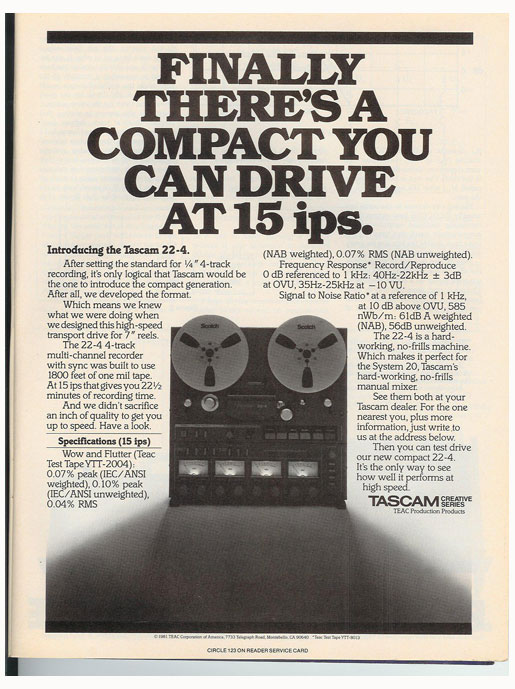 1981 Tascam22-2  ad in the Reel2ReelTexas.com vintage recording collection vintage reel to reel tape recorder documentation collection