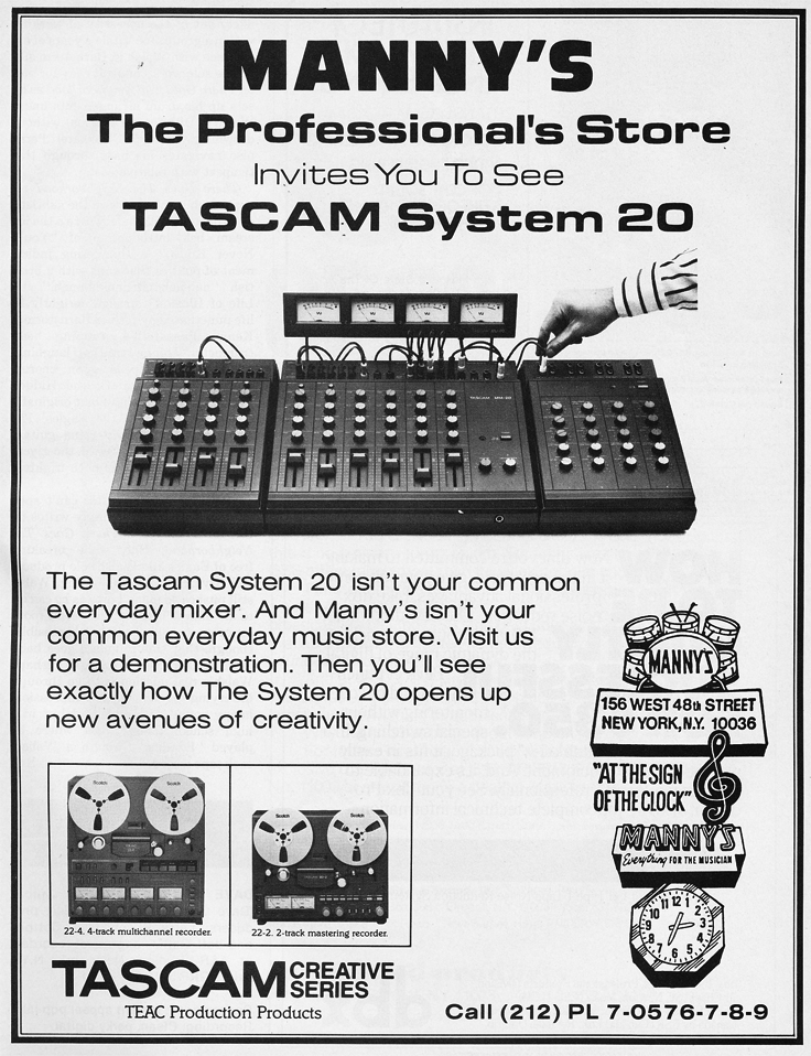 1981 ad for the Tascam System 20 by Manny's in the Reel2ReelTexas.com vintage recording collection vintage recording collection