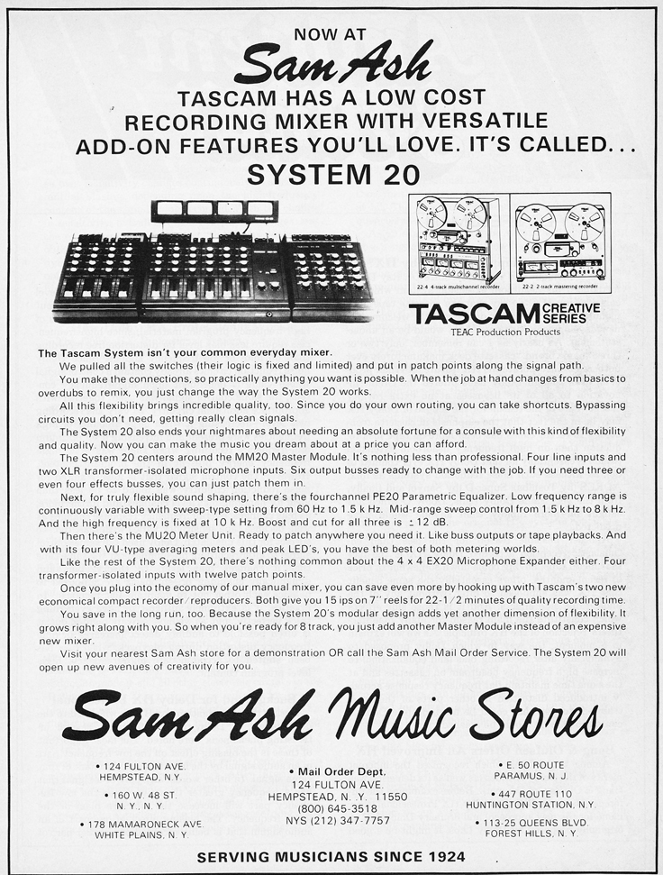 1981 ad for the Tascam System 20 by Sam Ash  in the Reel2ReelTexas.com vintage recording collection vintage recording collection