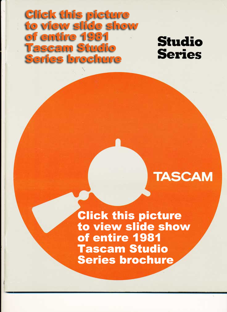 1981 cover of the Tascam Professional Studio Products brochure in the Reel2ReelTexas.com vintage recording collection vintage reel to reel tape recorder collection