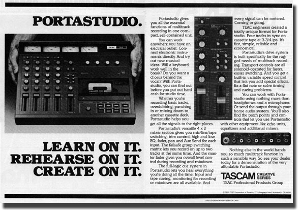 1979 ad for the Teac 144 Portastidio cassette recorder in the Reel2ReelTexas.com vintage recording collection