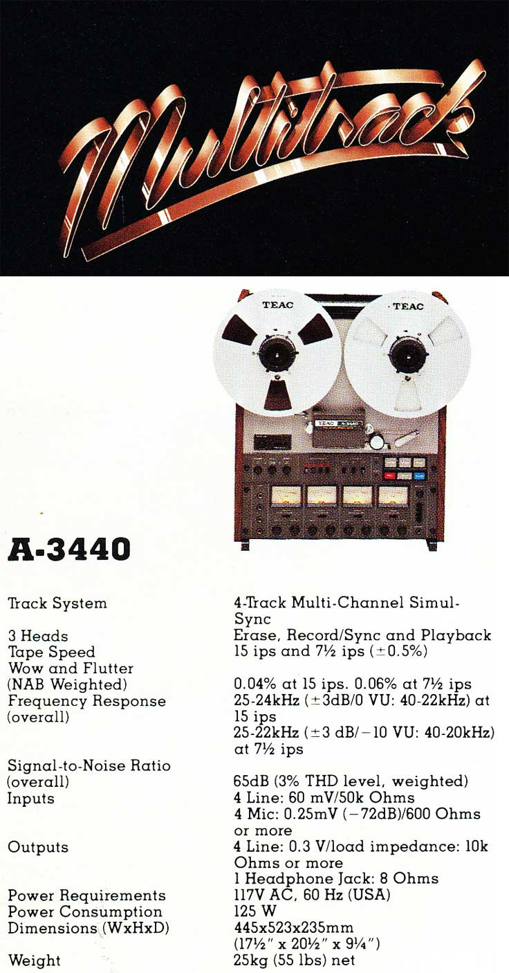 1981 ad for the Teac Tascam A-3440 multitrack reel tape recorder in the Reel2ReelTexas.com vintage recording collection vintage recording collection