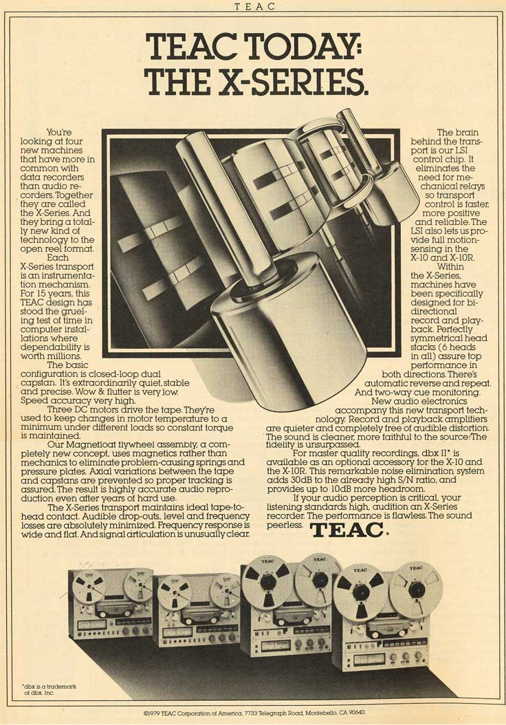 1981 Teac X Series ad in the Reel2ReelTexas.com vintage recording collection vintage recording collection