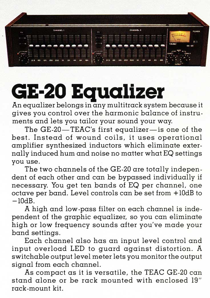 1981 Ad for the Teac Tascam GE-20 Equalizer in the Reel2ReelTexas.com vintage recording collection vintage recording collection