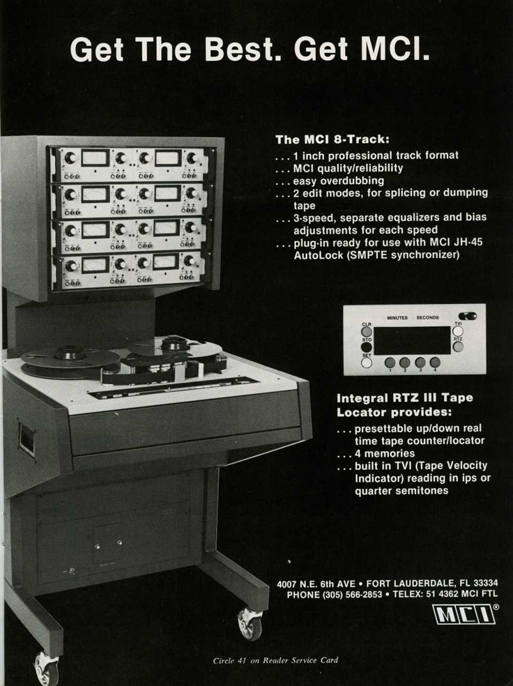 1982 ad for the MCI professional reel to reel tape recorders in the Reel2ReelTexas.com vintage recording collection