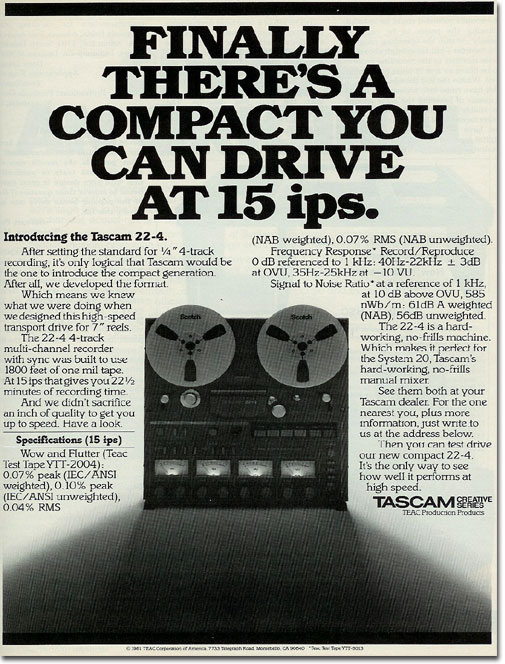 1982 Tascam reel tape recorder ad