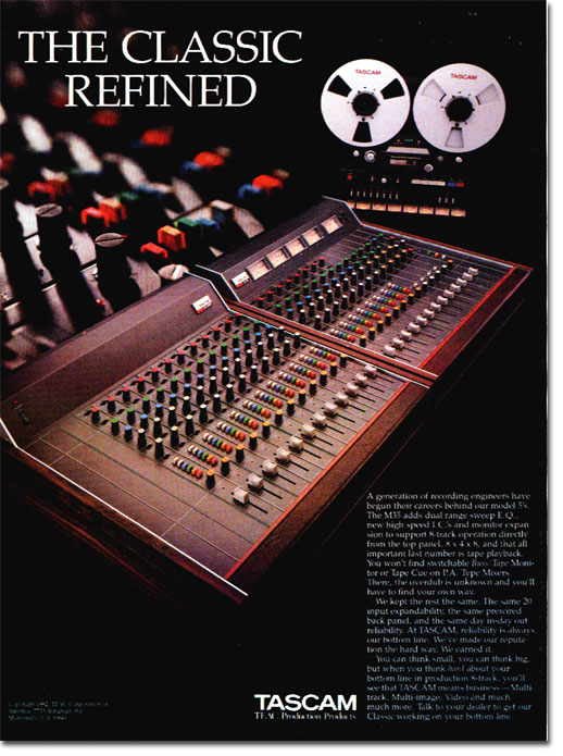 Picture of ad for Tascam recording equipment