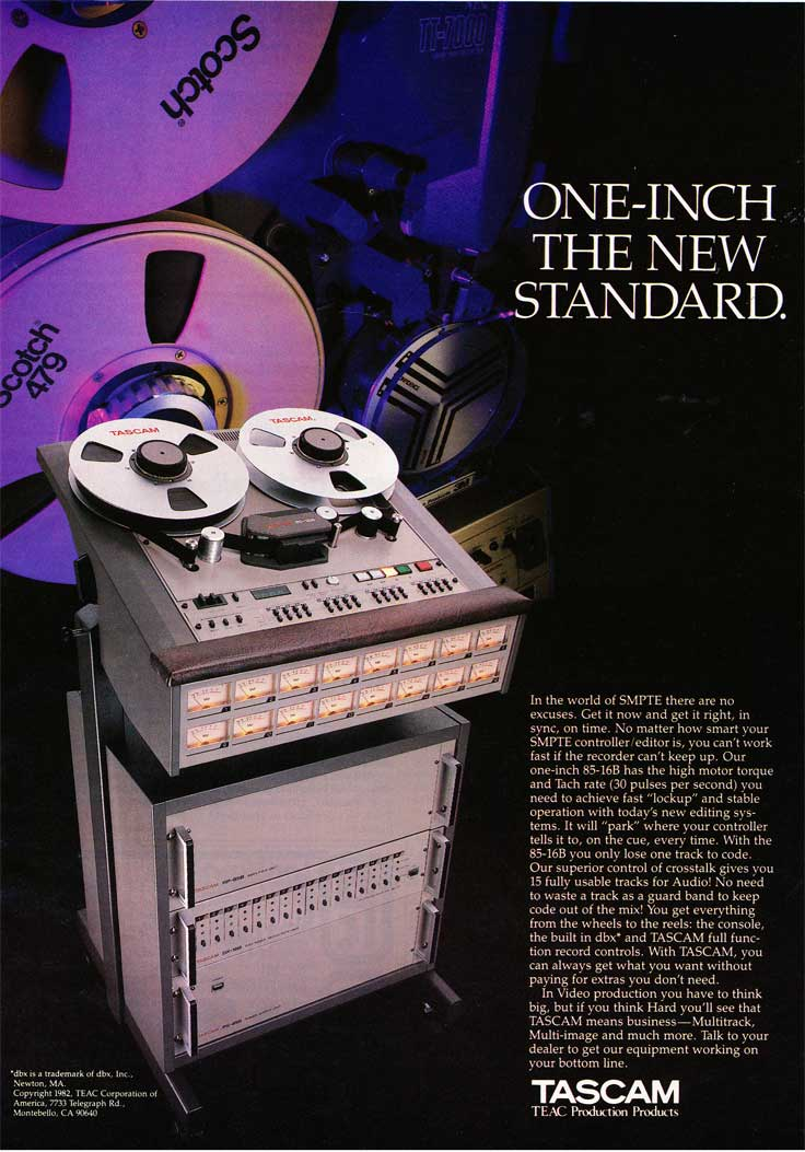 1982 ad for the Tascam one inch 16 track reel to reel tape recorder in the Reel2ReelTexas.com vintage recording collection