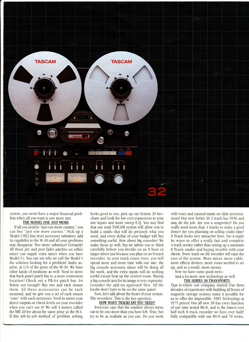 Tascam Series 30 brochure in the Reel2ReelTexas.com vintage recording collection' vintage reel to reel tape recorder collection