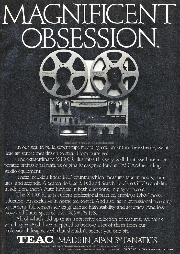 1982 ad for the Teac X-1000R reel to reel tape recorder in the Reel2ReelTexas.com vintage recording collection' vintage recording collection
