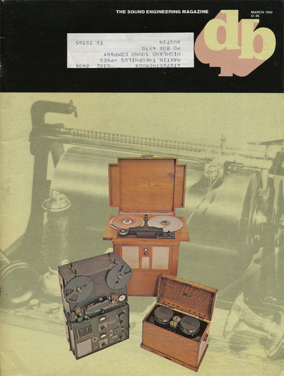 the Museum of Magnetic Sound Recording cover of 1982 db magazine showing old German tape recorders