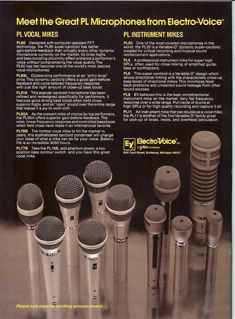 1983 Electro Voice microphone ad in the Reel2ReelTexas.com vintage recording collection