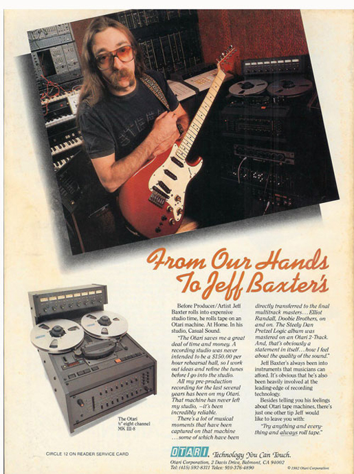 1983 ad for Otari reel to reel tape recorders featuring Jeff Baxter with the Doobie Brothers in the Reel2ReelTexas.com vintage recording collection