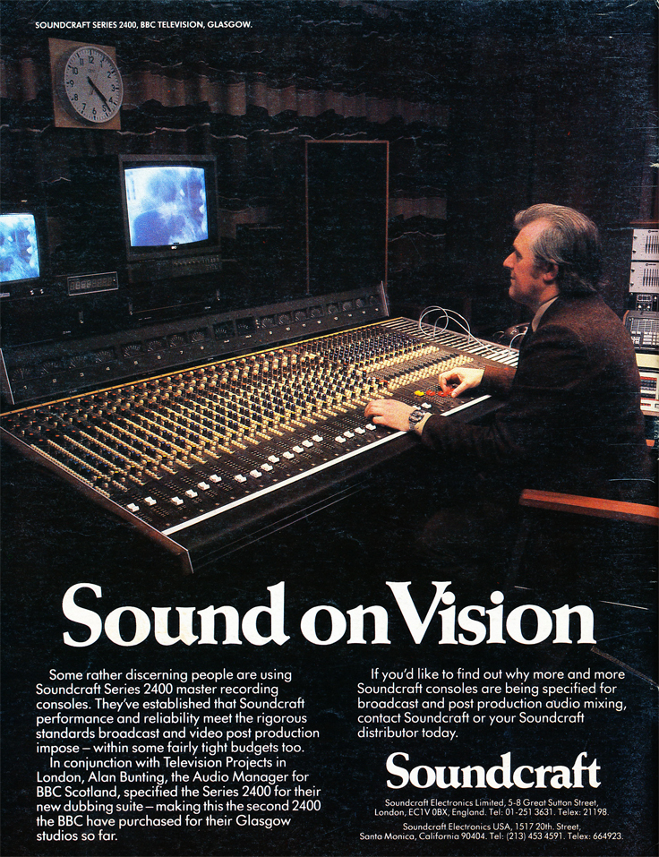 1983 Soundcraft ad for their Soundcraft Series 2400 mixing console in the Reel2ReelTexas.com vintage reel tape recorder recording collection