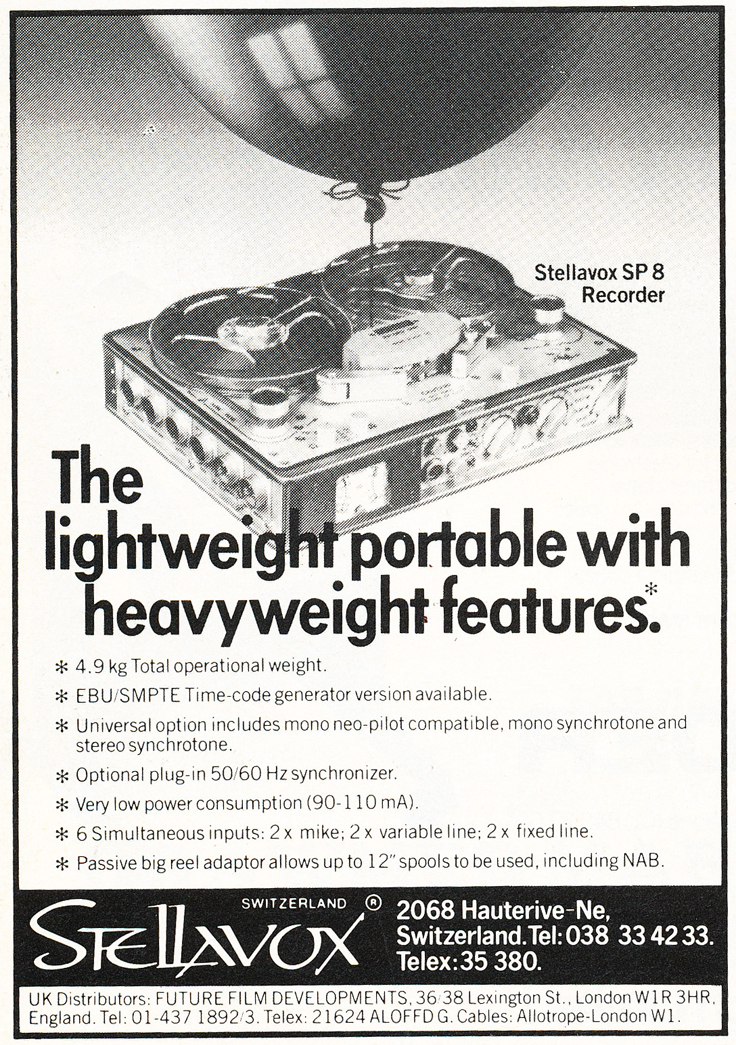 1983 ad for the Stellavox SP8 pro reel to reel tape recorder in the Reel2ReelTexas.com vintage recording collection
