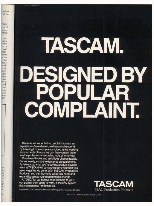 1983 Tascam ad in the Reel2ReelTexas.com vintage recording collection vintage reel to reel tape recorder documentation collection