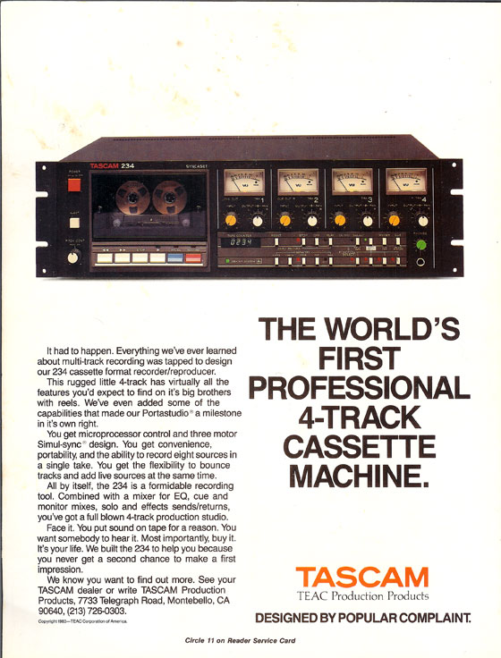 Teac Tascam 234 cassette tape recorder in the Reel2ReelTexas.com vintage recording collection