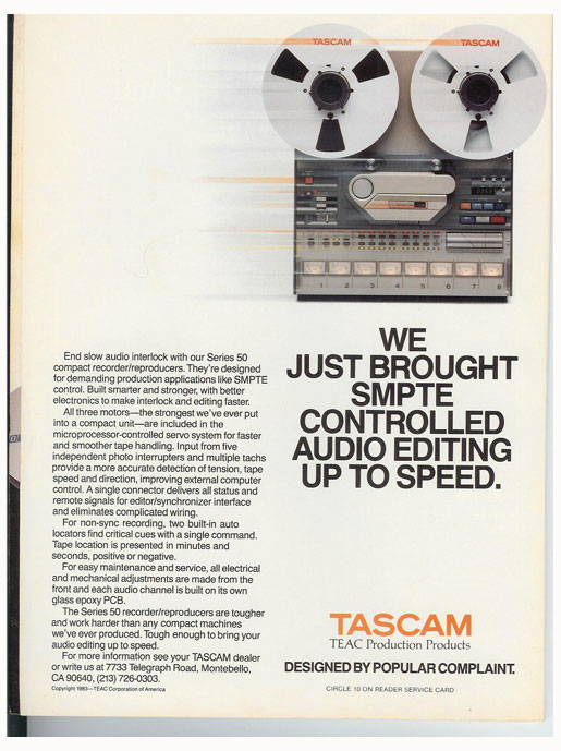 1983 Tascam 58 ad in the Reel2ReelTexas.com vintage recording collection vintage reel to reel tape recorder documentation collection