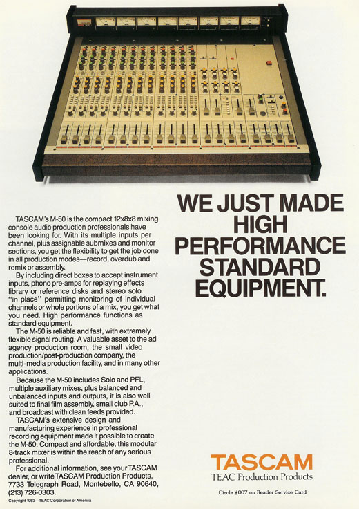 Tascam M-50 mixer  1983 ad in the Reel2ReelTexas.com vintage recording collection, Inc.'s vintage reel to reel tape recorder collection
