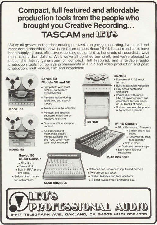 Misc Tascam recorders in 1983 ad in the Reel2ReelTexas.com vintage recording collection, Inc.'s vintage reel to reel tape recorder collection
