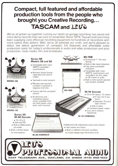 1980 Tascam Model 58 ad in the Reel2ReelTexas.com vintage recording collection' vintage tape recorder collection