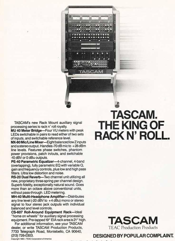 1983 ad for the Tascam rack in Phantom's vintage tape recording collection