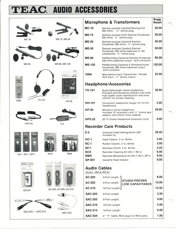 1983 Teac Accessories catalog in the Reel2ReelTexas.com vintage recording collection' vintage tape recording collection Page2