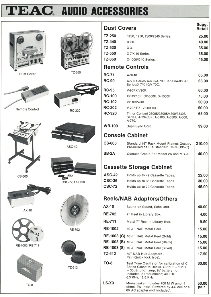 1983 Teac Accessories catalog in the Reel2ReelTexas.com vintage recording collection' vintage tape recording collection Page 3