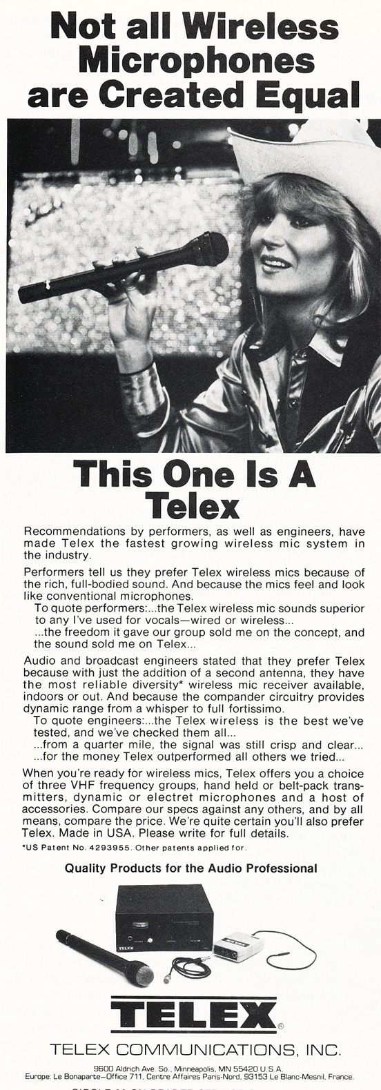 1983 ad for Telex in the Reel2ReelTexas.com vintage recording collection