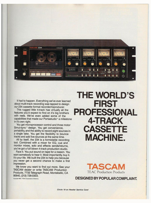 1984 Tascam 234 cassette ad in Phantom Productions vintage reel to reel tape recorder documentation collection