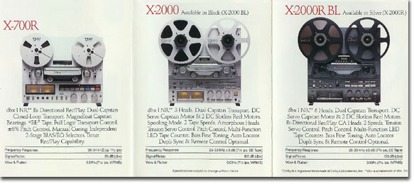 1979 ad for the Teac X-700R, the X-2000 and the X-2000R BL reel tape recorders  in the Reel2ReelTexas.com vintage recording collection